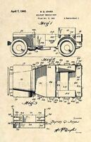 Official Willys Jeep US Patent Art Print - Vintage Antique Veteran Army 242