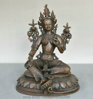 "10 ""Tibet Rouge Bronze Bouddhisme Vert Tara illumination Déesse Bouddha Statue"
