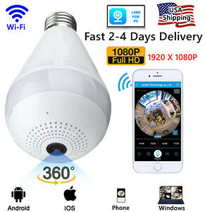 HD 1080P 360° Panoramic Wi-fi Camera Light Bulb Dome Surveillance Camera