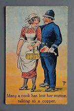 R&L Postcard: Cook Maid Lady Leg of Lamb Mutton Policeman Copper