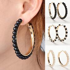 Women Vogue Faux Pearl Earings Chic Beads Gold Plated Ear Hoop Circle Earrings''