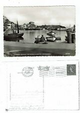 CORNISH POST CARD REAL PHOTO LOOKING ACROSS THE INNER HARBOUR, MEVAGISSEY 43766