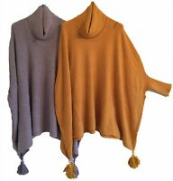 Ladies Oversized Italian Lagenlook COWL NECK PONCHO Drape Sides POM BOXY Jumper