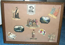 19th century Framed Collage,  Miniature Watercolors, Engravings