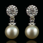 14k white Gold plated with Swarovski crystals pearl solid dangle earrings