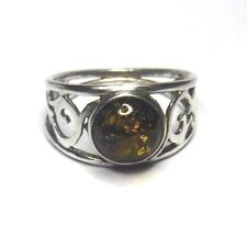 Sterling Silver Amber Round Scrolled Band Ring Size 6 1/2