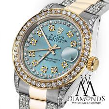 Women's 31mm Rolex Oyster Perpetual Datejust Custom set Diamonds Dial Ice Blue