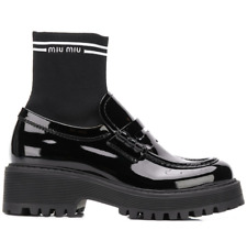MIU MIU SOCK PATENT LOAFERS BOOTIE BOOTS STIEFEL SCHUHE SHOES STIEFELETTEN 38