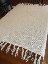 "WHITE CROCHET AFGHAN BLANKET Vintage GRANNY Handmade Throw 69""x50"" soft Homemade"