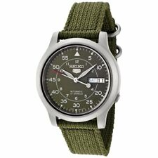 Seiko Automatic SNK805K2 Mens Green Dial Day Date Nylon Strap Watch
