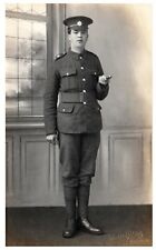 Postcard WW1 Army Service Corps ASC Soldier Swagger Stick British Army  RPPC 8a