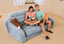 Inflatable Pull Out Sofa Bed Air Mattress Couch Blow Up Queen Size Futon Grey