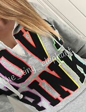 Victoria Secret Pink Ombre Rainbow Pop Out Patch Graphic Pullover Hoodie Gray M