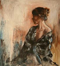 "Original escha van den bogerd Claude ""potente"" Chica Retrato Mujer Arte Pintura"