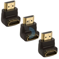 3pcsConnector HDMI Male to Female Port Saver 90 Degree Adapter