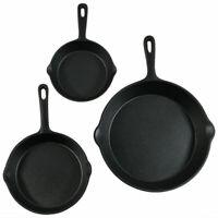 Pre Seasoned Cast Iron Skillet Fry Pan Set 3 Pcs Frying Pan Set