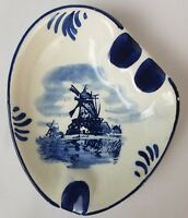 Holland Delft Blue Windmill Ashtray Dutch Hand Painted Blue and White  Ceramic