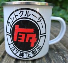 Caracteres katakana de estilo vintage con aspecto envejecido de Toyota a-yo-Ta (EQT), 12oz Esmalte Taza Land Cruiser
