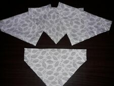 Slide on dog bandana size M.  in Christmas white with silver holly  polycotton