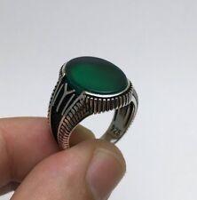 Dirilis Ertugrul IYI KAYI Green Agate 925K Sterling Silver Men's Ring