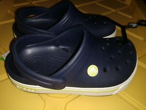 Crocs Crocband Crocs K Kids Slip On Clogs Navy Blue/Bright Green Boys&Girls New