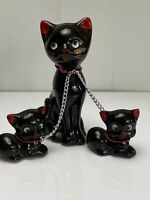 TRIO of VINTAGE CHAINED BLACK  CAT with kittens on chain