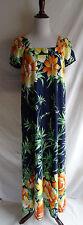 Vtg. 70's Nani of Hawaii Tropical Flower Muu Muu Hawaiian Maxi Beach Dress