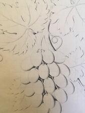 Très beau Dessin à la main encre feuille acanthe fruit raisin vigne  XIXe plante