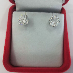 1.00 Ct Pair Of Real Diamond Stud Earring 950 Platinum Special Women Gift Studs