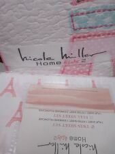 NICOLE MILLER Kids 4pc Eiffel Tower White Pink Floral Quilt Sheets Set -Twin