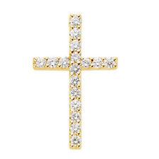 Petite Cruz Diamante 45.7cm Collar en 14k ORO AMARILLO ( 1/3ct. TW