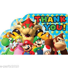 SUPER MARIO THANK YOU NOTES (8) ~ Birthday Party Supplies Stationery Cards Luigi