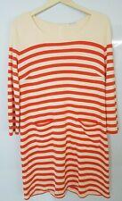 Whistles ladies Cream Red Striped Thin Knit Jumper Dress Size 16 UK 44 EU    266