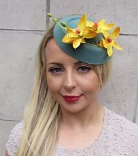 Yellow Teal Green Orchid Flower Pillbox Hat Fascinator Races Rockabilly Vtg 3153