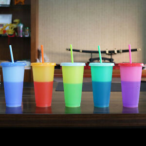 5 Pack 720ml Color Changing Cups Cold Drink Cups Mugs Tumblers for Parties