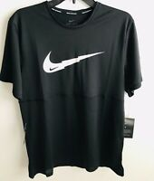 Nike (Medium) Breathe Running Top Men Black Big Logo Active Wear Tee Shirt