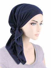 The Bella Scarf Pre-Tied Chemo Cancer Turban Blended Knit Navy Blue