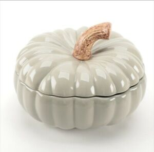 Williams Sonoma Lg Sage Covered Pumpkin Soup Tureen Autumn Gourd Collection