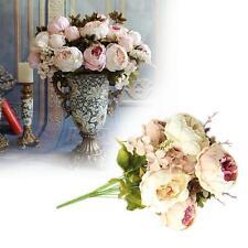 Artificial Bouquet Peony Silk Flowers Leaf Home Wedding home Decor Beige+Pink Jу