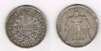 France 5 francs 1876 K Hercule, argent silver coin silber, Dupre republique