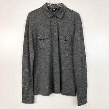Hugo Boss Mens Shirt Black Marled Pullover Front Pocket Long Sleeve Soft XXL