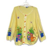 Onque Woman Plus Size 2X Garden Theme Yellow Cardigan