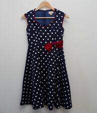 Lindy Bop Leda dress size 10 blue white polka dots spotted bow swing Dapper Day