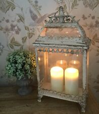 New Shabby Chic Vintage Antique Style Lantern Candle Holder Cream