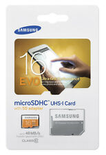 SAMSUNG EVO 16GB MicroSD Micro SDHC Flash Class 10 Memory Card 16G w/ SD Adapter