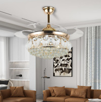 """42"""" Gold Crystal Invisible Ceiling Fan Lamp Luxury Remote LED 3-Color Chandelier"""