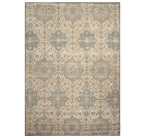 9' x 12' Handmade 100% Wool Patterned Designer Oriental Area Rug Beige 9x12