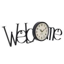[en.casa]® Horloge murale bienvenue métal déco design horloge analogue murale