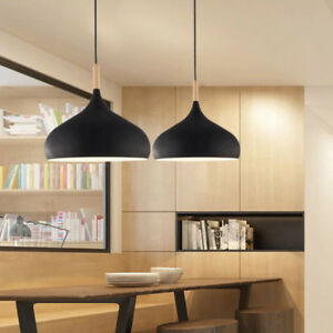 Modern Pendant Light Black Chandelier Lighting Wood Ceiling Lights Kitchen Lamp