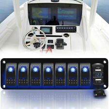 Waterproof 8 Gang Car Auto Boat Marine LED Rocker Switch Panel Circuit Breakers